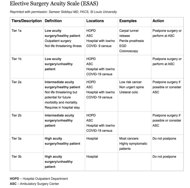 Elective Surgery Acuity Scale